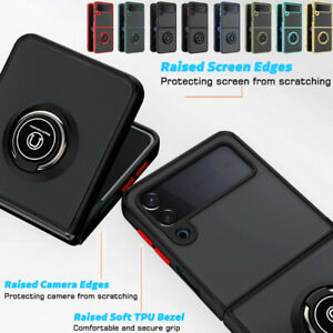 For Samsung Galaxy Z Flip 3 5G Case Shockproof Luxury Fold Ring Kickstand Cover