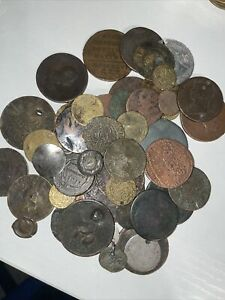 LOT OF old COINS Some Maybe Silver! See Pictures All Damage Hole