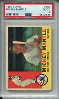 1960 Topps Baseball 350 Mickey Mantle Card NY Yankees Graded PSA Good 2 Centered