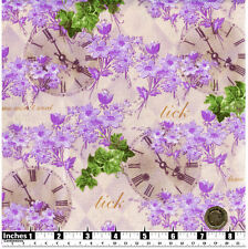 Quilting Fabric Purple Flowers Clock Faces Time  Fat Quarters 100% Cotton