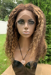 Lace Front 100% Human Hair Wig Brown Curly 20 inches (stretched) Highlights