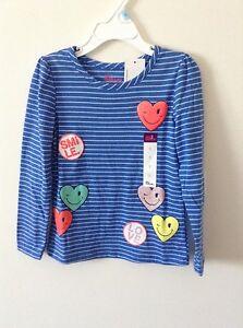 NWT. Girl's Sz: 5, Long Sleeve Stripes Heart Tee by Epic Threads.