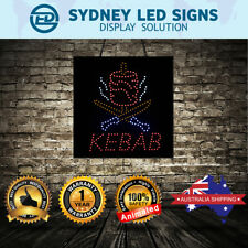 Animated LED NEON Motion Flash Open Business Sign KEBAB SIZE: 60CM X 60CM