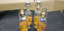 4 USED 750ML Swing Bail Top Clear Glass W/Paper Lables  Earth Friendly Dist. Co