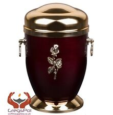 Exclusive Metal Cremation Urn for Ashes  with Rose Adult Cremation Memorial Urn