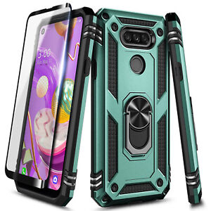 For LG Premier Pro Plus/Xpression Plus 3, Ring Stand Phone Case + Tempered Glass