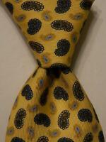 BRIONI Men's Silk XL Necktie ITALY Luxury Designer PAISLEY Yellow/Blue/Black GUC