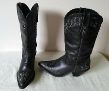 High quality DURANGO lady black leather cowboy/western boot pointed toe Size 7M