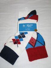 BNWT ORIGINAL PENGUIN Diamond Pattern Socks  White Red  Blue   2 Pairs