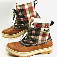 SOREL TIVOLI NL1653-704 Red/Brown Plaid WP Snow Boot, Wm's Size 10 NEW