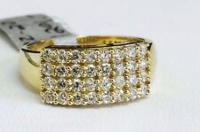 Solid 14K Yellow Gold Fancy 4 Row Round Cut Cubic Zirconia Ring CZ Band, Size 7