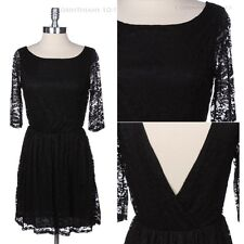 Full Floral Lace Open Back Dress 3/4 Sleeve Wide Neck Cocktail Evening S M L