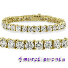 4 ct F VS2 round ideal cut diamond 4 prong tennis bracelet 18k yellow gold 7""