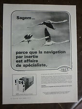1978 PUB SAGEM SYSTEME INERTIEL ULISS AVION MIRAGE FLAMAND ROSE PINK FLAMINGO AD