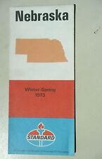 1973 Nebraska road map Standard oil gas Winter Spring