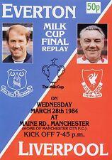 1984 MILK LEAGUE CUP FINAL REPLAY EVERTON v LIVERPOOL PROGRAMME