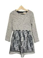 LIANG LIANG lagenlook grey jumper dress UK size 4 knit sparkle Christmas