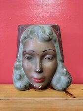 Mid century female Wall Plaque face, Chalkware mask,heavy chalk lady,23 x 20 cm