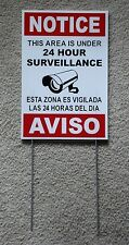 Security Video Surveillance Notice Aviso 24 Hr Sign 8x12 Spanish English w/Stake