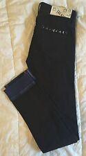 BLANK NYC Skinnie Classique Black Jeans W Studs & Blue Cuffs -Skinny - Sz 25 NWT