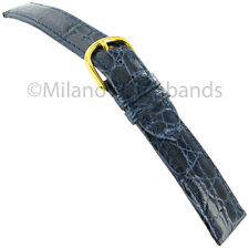 17mm DeBeer Genuine Crocodile Stitched Handcrafted Navy Blue Watch Band Strap