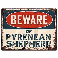 Ppdg0035 Beware of Pyrenean Shepherd Plate Rustic Chic Sign Decor Gift