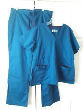 BIO Bring It On Medical Scrub Set Teal Blue ~ Top Size XL ~ Pants Size XLT