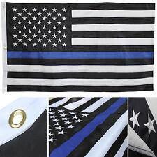 3x5 Embroidered USA Police Thin Blue Line 600D Nylon Flag 3'x5' Heavy Duty