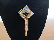 MARENA Black Onyx Gold-Tone Pendant Brooch with Chains