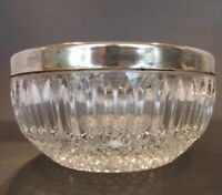 Vintage Crystal Candy Dish Bowl Plate Silver Rim Glass