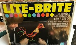 Vintage 1978 Lite Brite Toy With Pegs Stack Of Blank Paper Refills Original Box