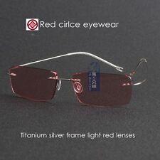 Hingeless Rimless Titanium Sunglass silver frame light red lenses fashion lens