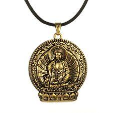 Buddha On Lotus Pendant Bronzed Tone Buddhist Necklace