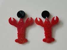 Statement stud red pinchy lobster earrings drop dangle acrylic studs black pad