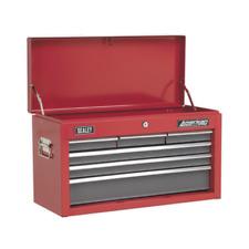SEALEY AMERICAN PRO TOPCHEST 6 DRAWER TOOL BOX - RED - 600x260x340MM - AP2201BB