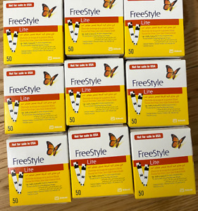 9x PACKS OF 50 SEALED FREESTYLE LITE BLOOD GLUCOSE TEST STRIPS BY ABBOTT EXPIRED