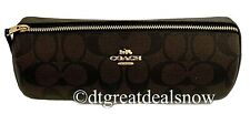 NWT COACH Makeup Brush Holder Signature Canvas Travel Case Brown Black  91177