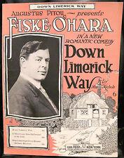 Irish Sheet Music DOWN LIMERICK WAY Fiske O'Hara Pitou Feist 1919 Song Ireland