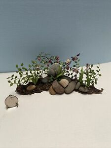 Dollhouse Miniature Vintage Artisan Flowered Rock Garden Display BEAUTY 1:12