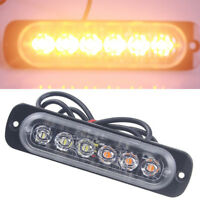 Amber 6 LED Car Emergency Beacon Warning Hazard Flash Strobe IP67 Light Bar Lamp