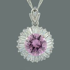 Brass CZ 18K White Gold Plated Pink Sapphire Round Cut Pendant Necklace Chain