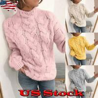 Women Cable Knit Jumper Turtleneck Sweater Ladies Long Sleeve Winter Pullover US
