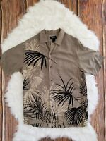 Men's Vintage Brown Claiborne Hawaiian Short Sleeve Rayon Leaf Print Shirt Sz Sm
