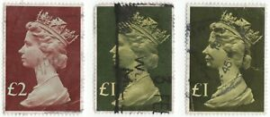 QE11..2x 1 POUND ...1x 2 POUND STAMPS USED..PRODUCTION FROM2/2/1977..PERF 14x15