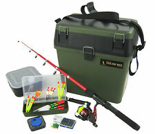 COMPLETE JUNIOR BEGINNERS FISHING KIT & TACKLE SEAT BOX SET EVERYTHING YOU NEED!
