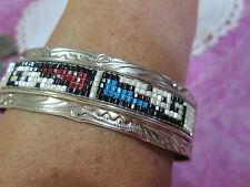 Glen Willie Vintage Navajo Indian Sterling Silver Stampwork with Beads Bracelet