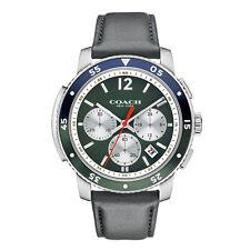NWT Coach Men's Bleecker Sport Dark Grey Leather Strap Watch 44MM 14602026