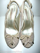 STELLA McCARTNEY'S NATURAL FIBER HIGH HEEL SLINGBACKS WITH PLATFORM SIZE 38/ 8