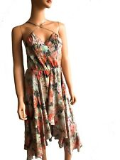 Haute Hippie Sleeveless Floral Printed Midi Silk Summer Dress Size S