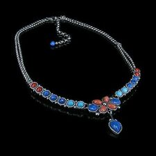 .925 Sterling Silver Natural Turquoise RED Pink Coral Denim Lapis Chain Necklace